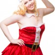 Beautiful sexy santa girl wearing santa claus clothes — Stock Photo