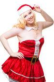 Beautiful sexy santa girl wearing santa claus clothes — Stock Photo