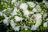 Bouquet of white chrysanthemums for wedding car decoration — Stock Photo