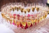 Glasses of champagne on festive table — Stock Photo