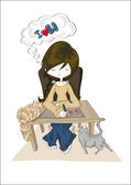 Piękna dziewczyna z dwoma kotami rysunek romantyczne wiadomość z serca z przyjaciółką na na białym tle — Wektor stockowy