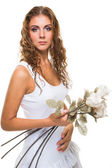 Beautiful girl with roses on isolated white — Stock Photo