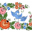 Stock Vector: Flowers and bird in Russitraditional gorodetsky style