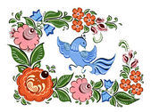 Flowers and bird in Russian traditional gorodetsky style — Stock Vector