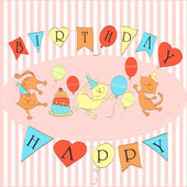 Card to birthday. Three dancing cats with balloons and cake. — Stock Vector