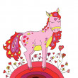 Horse in love with hearts walking on St. Valentine's Day — 图库矢量图片