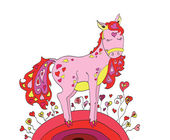 Horse in love with hearts walking on St. Valentine's Day — Stock Vector