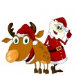 Cheerful Santa Claus and reindeer — Stock Vector