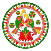 Russian traditional ornament with paradise birds and flowers of Severodvinsk region — Stock Vector