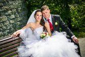 beautiful bride with groom — Stock Photo