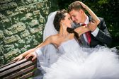 beautiful bride with groom — Stockfoto