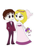 Groom and bride in wedding dresses — Stock Vector