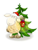 Lovely lamb in Santa's cap with lantern — Stock Vector