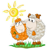 Two funny sheep on the isolated white background — Stock Vector