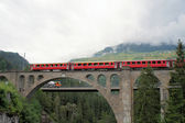 Swiss bridge and the Rhaetian Railway — Stock Photo