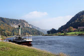 A small steamer on the Elbe in Saxony, Germany — Stock Photo