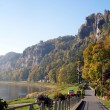 Promenade at the Elbe in Saxony, Germany — Stock Photo