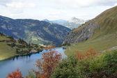 A small dam lake in the Allgäu Alps — Stock Photo
