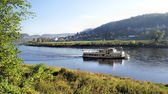 A steamer in the Elbe valley in Saxony — Stock Photo