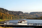 Ferry on the Elbe river — Stock Photo