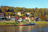 Spa town at the Elbe river in Saxony — Stock Photo