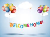 Welcome Home text with Colorful Balloons — Stock Vector