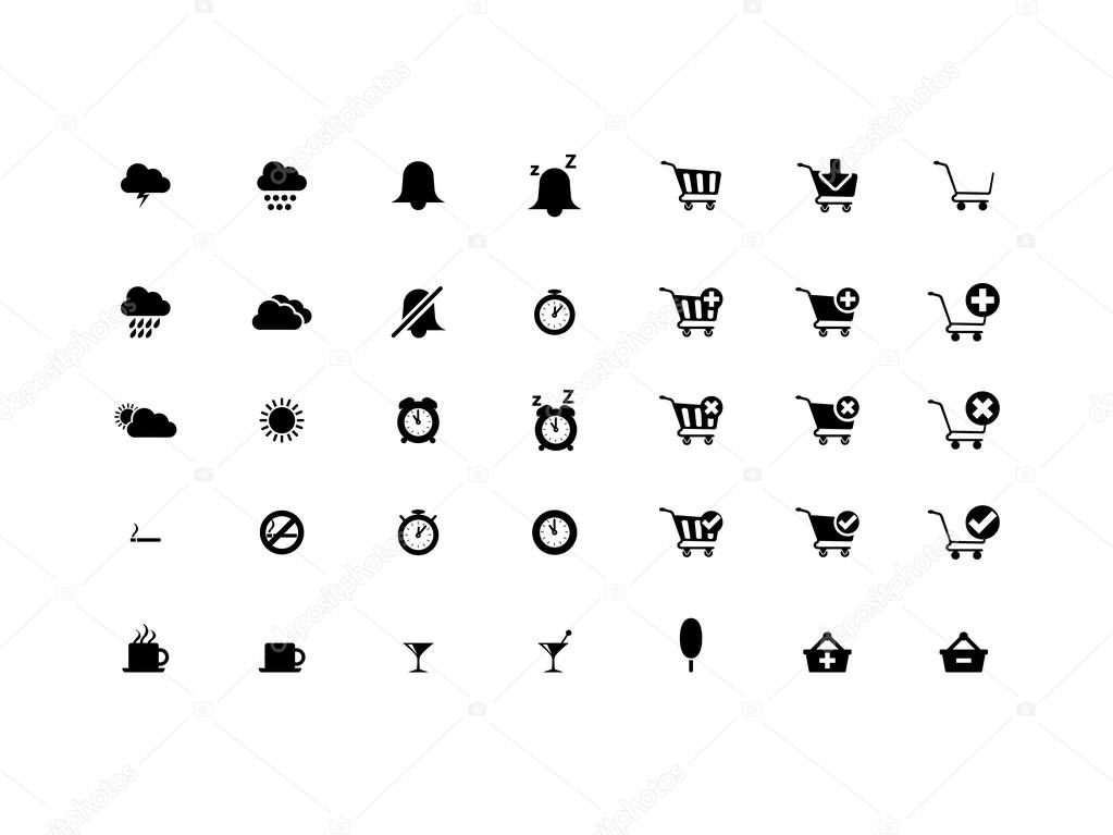 Simple, modern web icons - weather and online shopping — Stock Vector #13251078