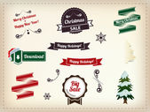 Christmas decoration collection - Set of calligraphic and typogr — Stock Vector