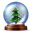 Snowglobe with Christmas tree — Stock Vector