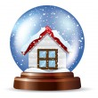 Stock Vector: Snowglobe with lonely house