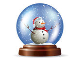 Snowglobe with snowman — Stock Vector