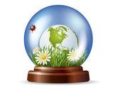 Globo di vetro con la natura all'interno — Vettoriale Stock