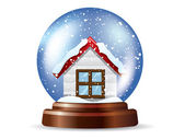 Snowglobe with a lonely house — Stock Vector