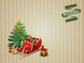 Christmas tree and sleigh postcard — Stock Vector