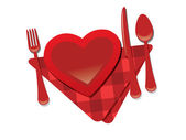 Fork, heart, knife - valentine's day restaurant — Stock Vector