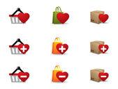 Giornata di valenintes shopping icone impostare — Vettoriale Stock
