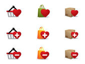 Valenintes tag shopping icons set — Stockvektor