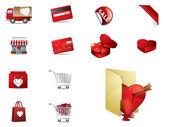 Valenintes gün alışveriş simgeleri ayarlamak — Stok Vektör