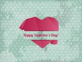 Coeur de papier - vecteur de carte de Saint Valentin — Vecteur