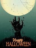 Cartel fiesta de halloween zombie - ilustración vectorial — Vector de stock