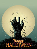 Halloween Zombie Party Poster - Vector illustration — Stock Vector