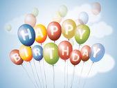 Zadowolony urodziny balony — Wektor stockowy