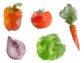 Polygonal geometric vegetables — Stock Vector