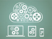 Cloud computing concept design - devices connected to cloud — Stock Photo