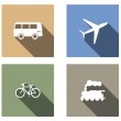 Vehicle and transport vector flat icons with long shadow — Stock Vector