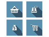 Shopping Flat Icons Set wit long shadow — Stock Vector