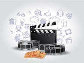 Realistic Movie Elements with Doodle — Vector de stock