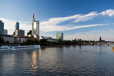 Cityscape of Frankfurt from Main river — Stock Photo