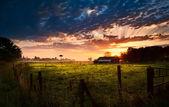 Dutch farmhouse at sunrise — Stock Photo