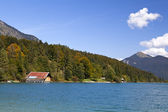Walchensee 湖和秋季森林 — 图库照片